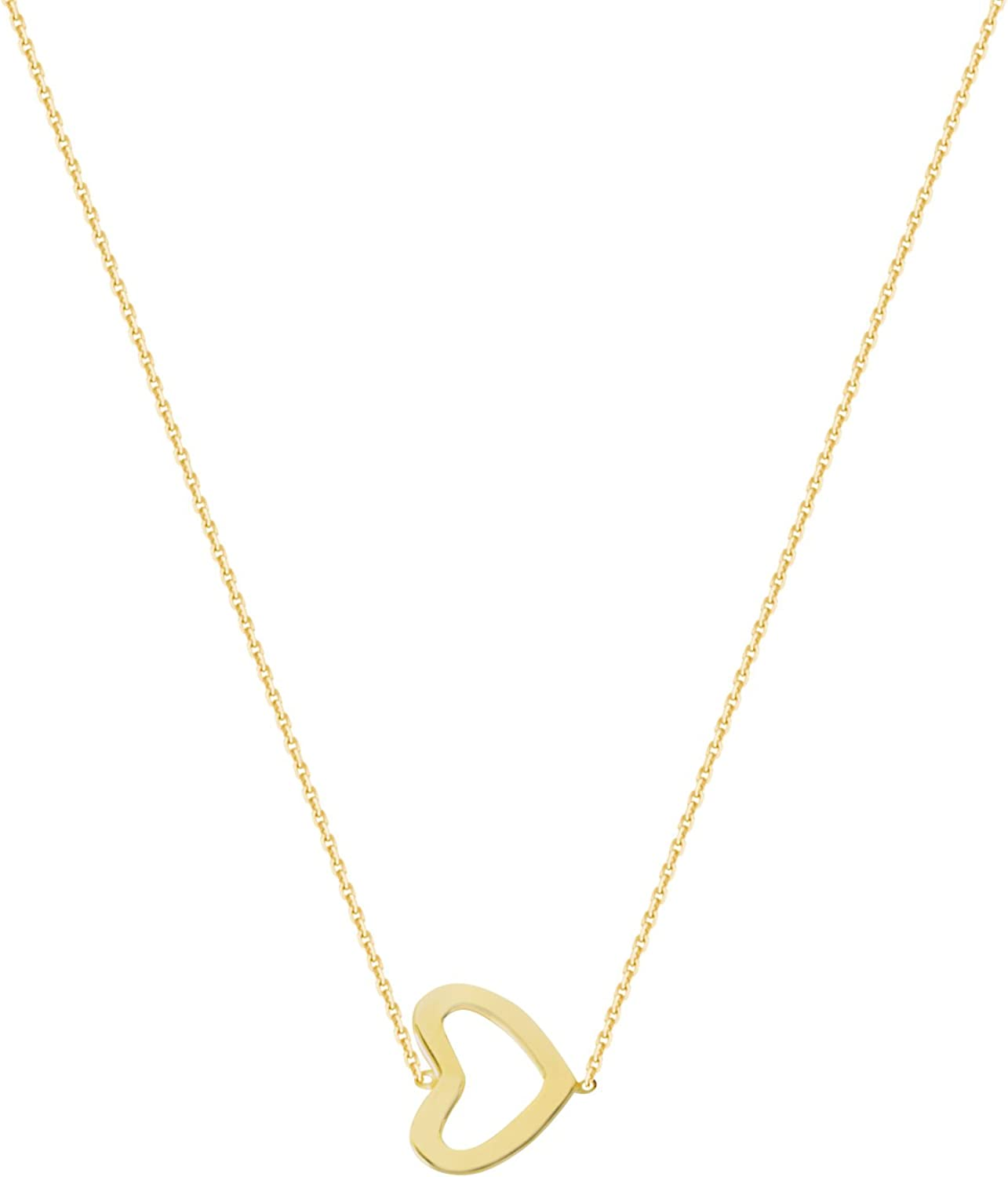 TINY 14k White or Rose or Yellow Gold Side Heart Adjustable Necklace Pendant NEW