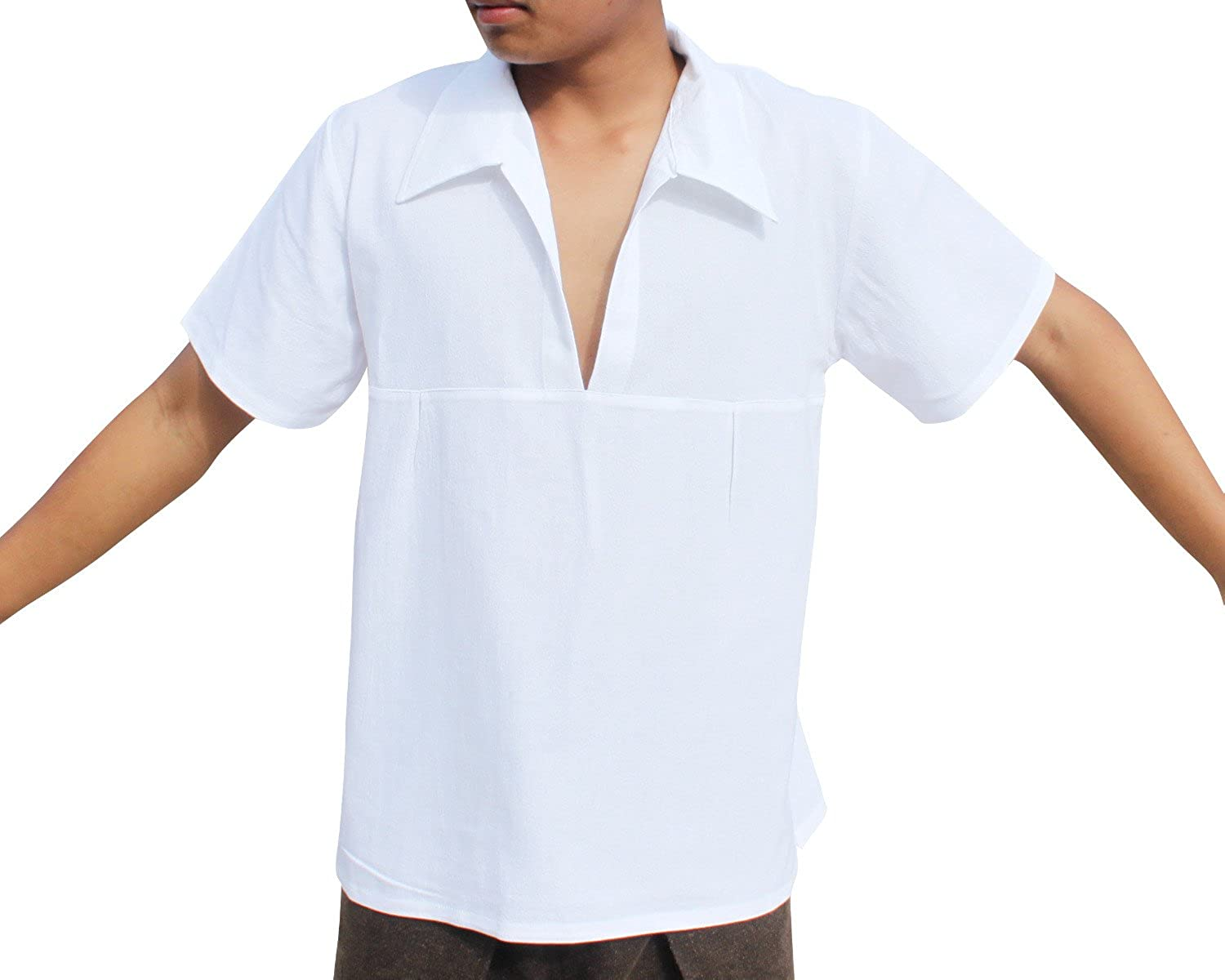 1960s Inspired Fashion: Recreate the Look RaanPahMuang Light Renaissance Cotton Shirt Wide Plunging Poets Collar Plus Size $18.78 AT vintagedancer.com