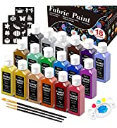 Fabric Paint, Shuttle Art 18 Colors Permanent Soft Fabric Paint in Bottles (60ml/2oz) with Brushe...