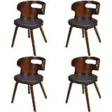 vidaXL Lot de 4 chaises salle à manger en cuir mélangé brun