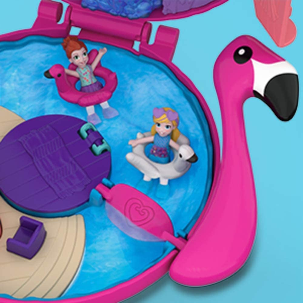 Polly Pocket  World Flamingo Floatie Pool Compact with Adventure Dolls New