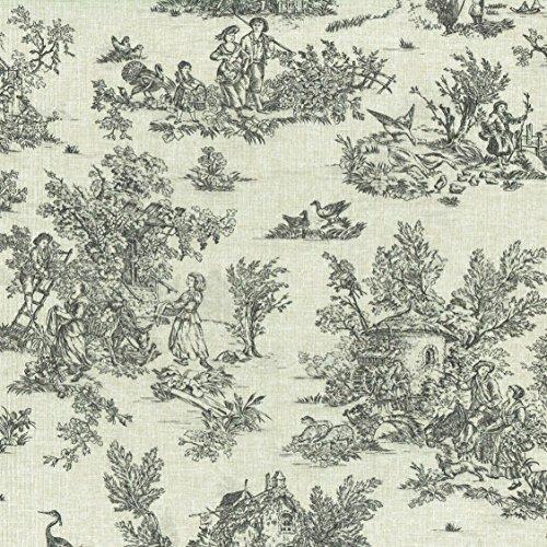 (Textiles francais Mini Toile de Jouy Fabric (La Vie Rustique) - Anthracite Grey on a soft, linen-look base cloth | 100% Cotton Designer Print | 61 inches wide | Per yard length increment)