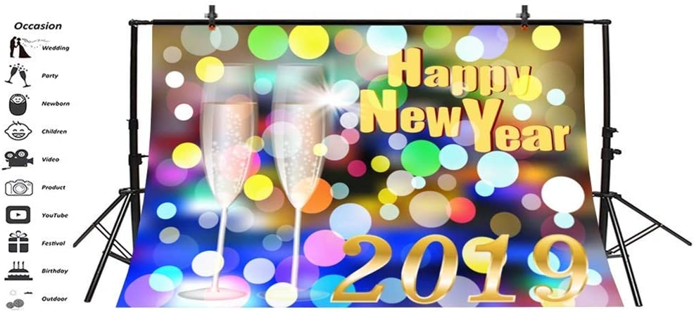 Happy New Year 2019 Backdrop Vinyl 10x7ft Cartoon Colorful Haloes Champagne Goblets Illustration Background Child Kids Adult Shoot New Year Party Banner Greeting Card Studio Props