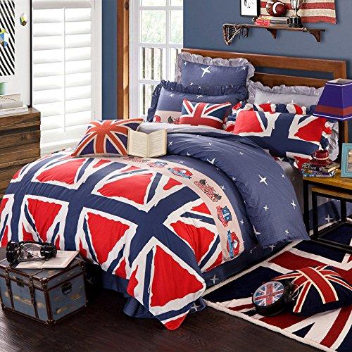 Newrara 100% Cotton Linen 3d American Flag Print Bedding Set Queen Size Duvet Cover Sheet Pillow Case Comforter Linen (Not Include Comforter) (Queen, British flag)