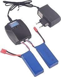 YouCute Caricatore 1to3 e 3 batterie 350mAh per UDI U845 Voyager U818 WiFi Peregrine FPV RC accessori quadcopter ricambi Batterie 3PCS + caricatore
