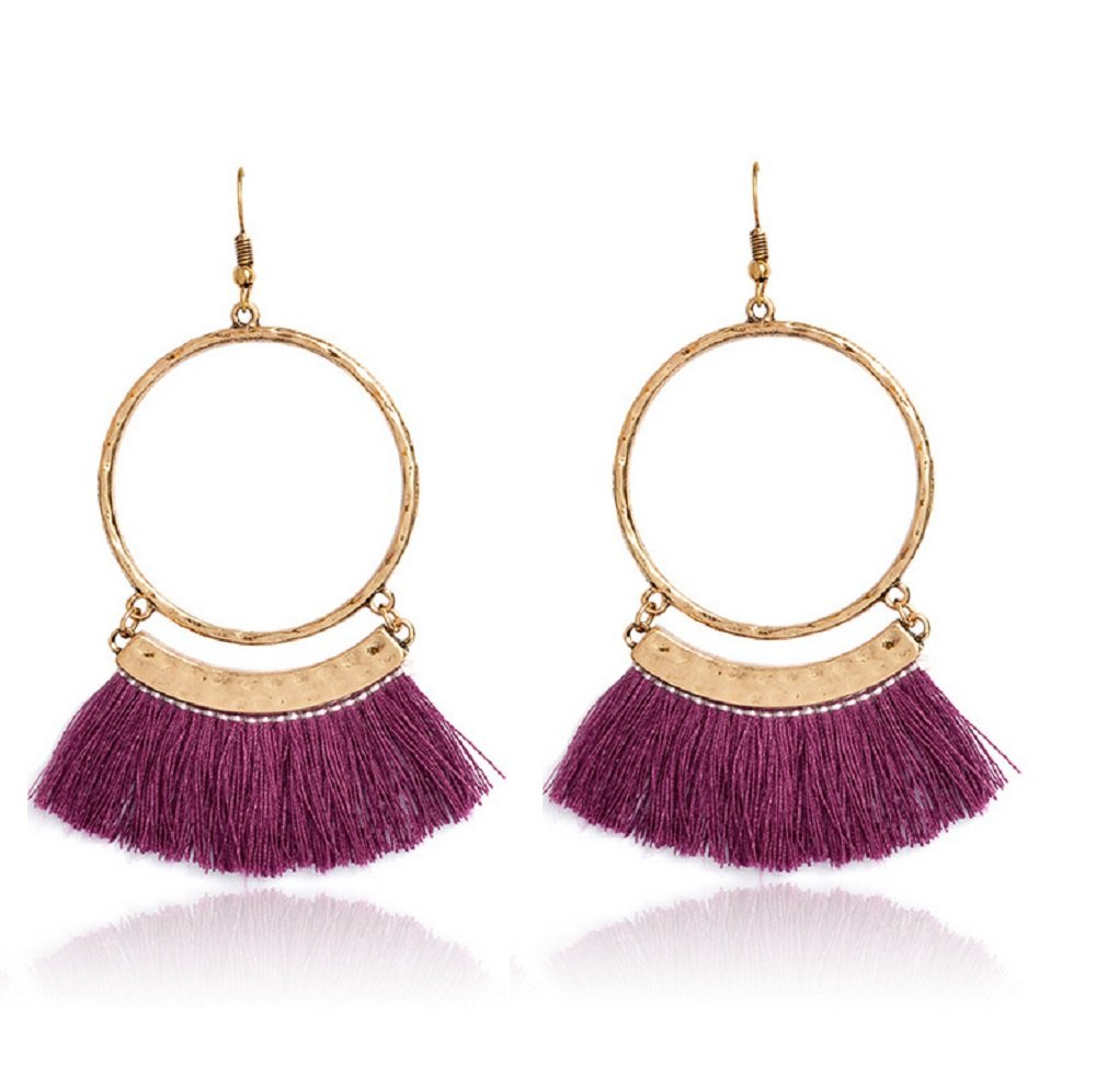 Jiami Fan Tassel Earrings Hoop Drop Dangle Earrings Fish Hook Earring for Daily Wear, Wedding, Party etc, Purple