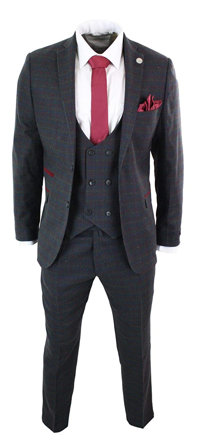 TruClothing.com Mens 3 Piece Check Suit Double Breasted Waistcoat Vintage Classic Tweed Wool Fit
