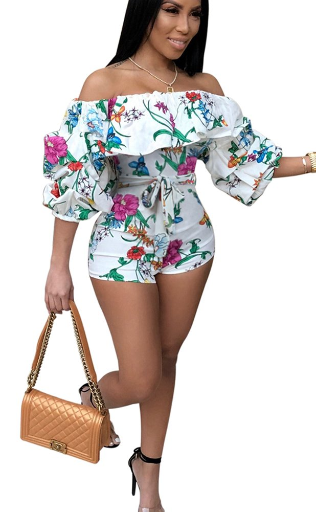 Mintsnow Womens Summer Short Sleeve Floral Print Romper Strapless Beach Jumpsuit White M