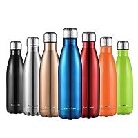 CMXING Botella De Agua 500 mL & 750 mL de doble pared con aislamiento de botella de agua de acero inoxidable
