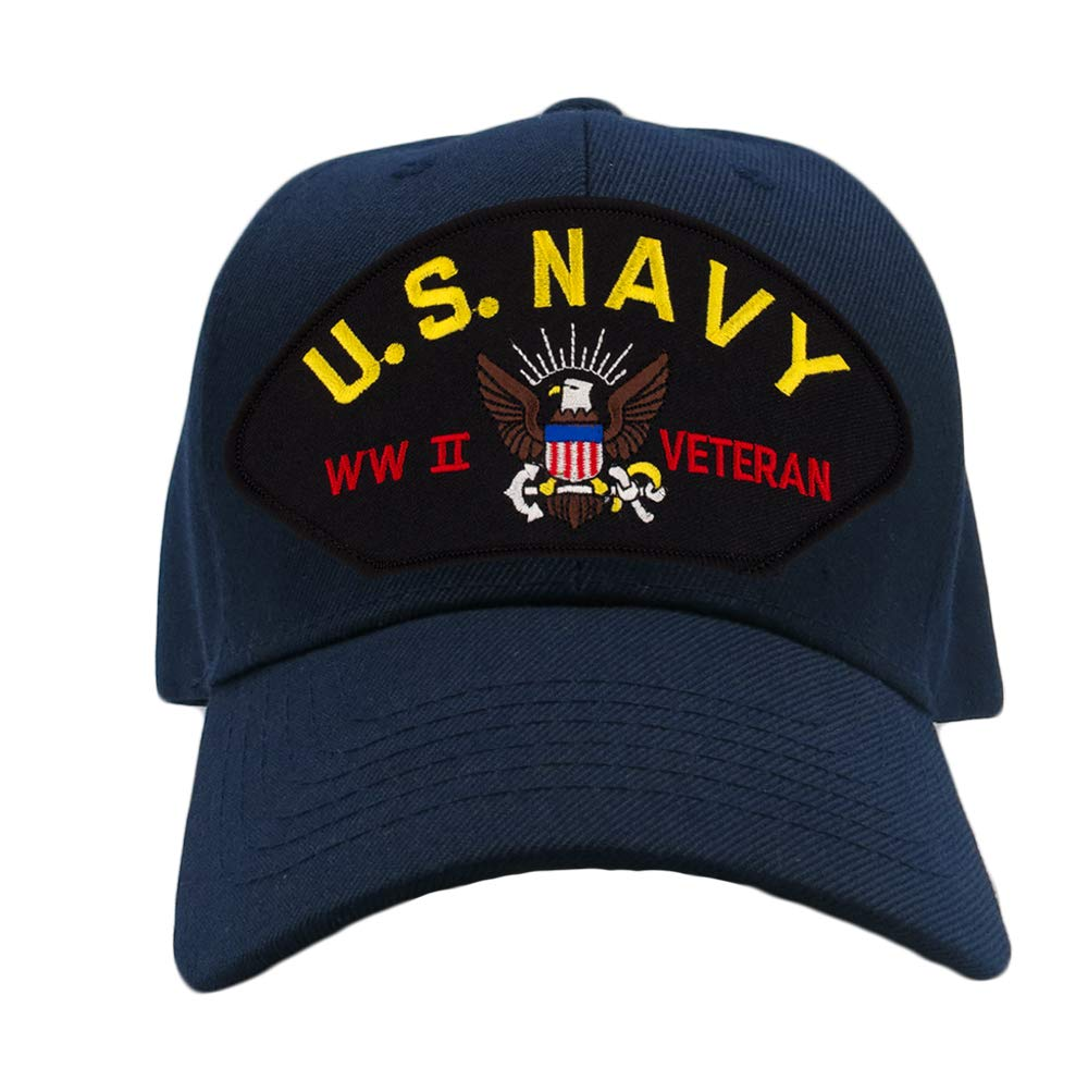 Patchtown US Navy- World War II Veteran Hat/Ballcap Adjustable One Size Fits Most (Multiple Colors & Styles) (Navy Blue, Add American Flag)