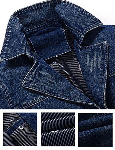 Denim Jacket Uomo Jeans Tempo Ripped Di Menschwear Libero Blu Giacchetta Giacca CtwdqxSE