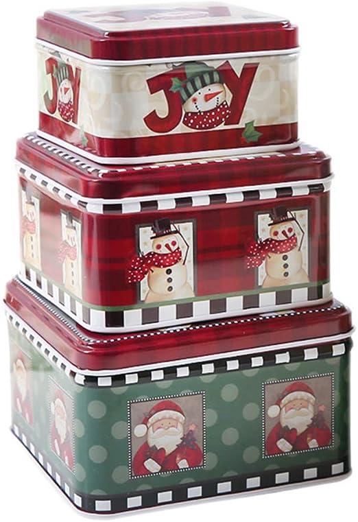 GuanjunLI - Juego de 3 cajas de almacenamiento para galletas de ...