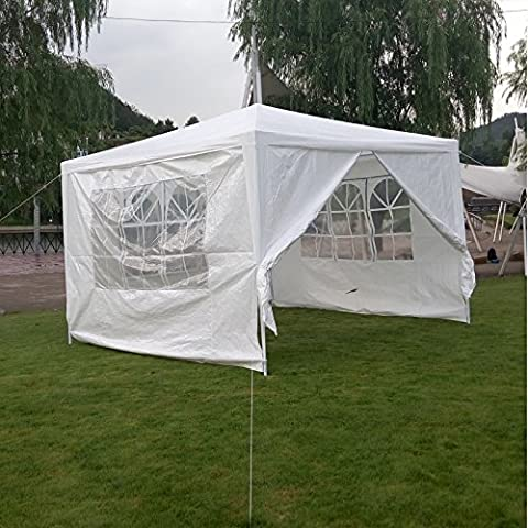 10'x 10' Easy-up Gazebo Canopy Beach Tent Party Sun Shade Pavilion Cater BBQ (First Up Screen Curtain)