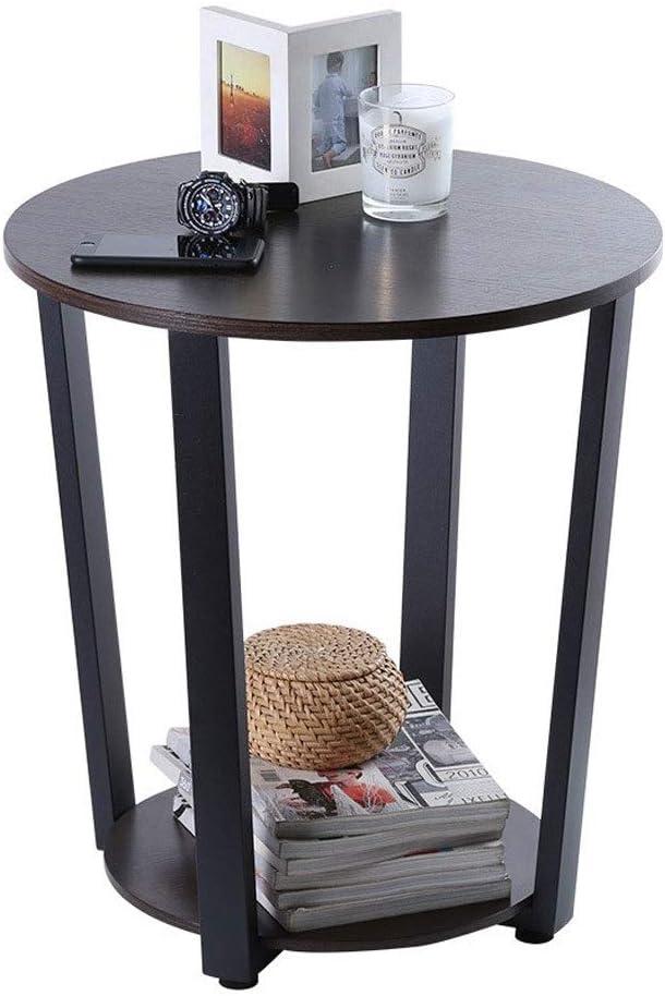YSXCHZC ronde bank bijzettafel met 2 lagen opslag, nachtkastje, koffie snacktafel, woonkamer kleine eindtafel, 50X57CM Retro