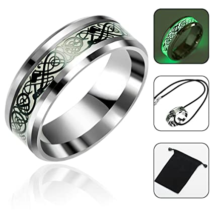 Amazon Com Aolvo Luminous Celtic Dragon Rings 8mm Biker Rings