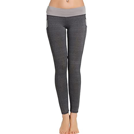 0f1d4674f6fff7 Womens Yoga Pants,YKA,Girl Patchwork Skinny Push Up Sport Casual Pants  Trousers Leggings For Ladies (M, Gray): Amazon.co.uk: Clothing