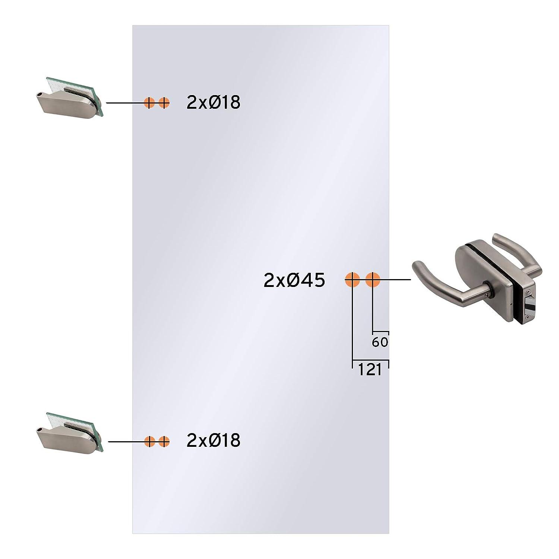 inova Glas-Dreht/ür DIN Links rechts Studio-Beschlag Komplett-Set 834x1972x8 Mistral Echtglas Glast/ür Zimmert/ür