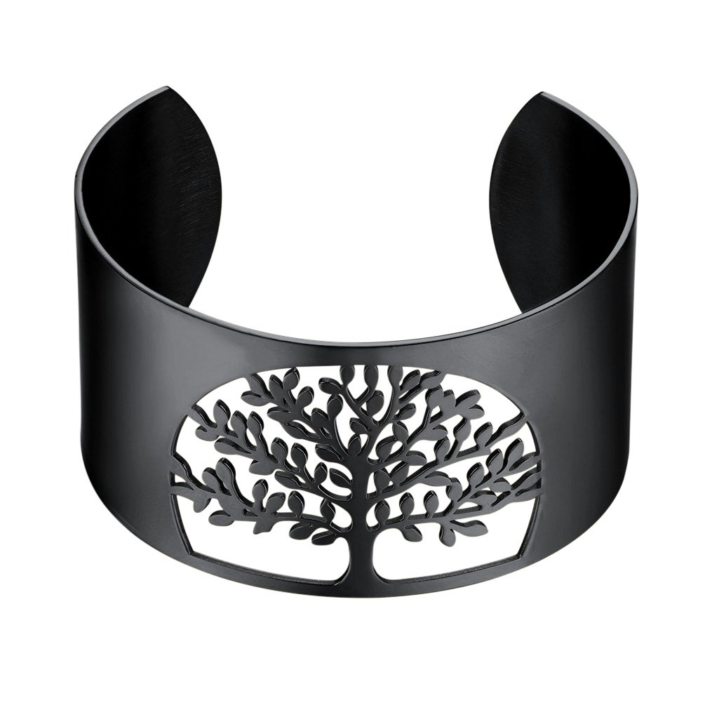 Life Tree Cuff Bracelet 316L Stainless Steel Lucky Jewelry 18k Gold/Black Gun Plated Tree of Life Bangle CA-PSH2883 PROSTEEL Jewelry PSH2883G