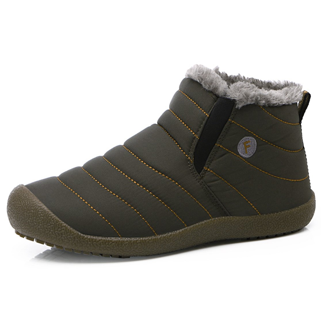 SITAILE Men Women Fur Lined Outdoor Slippers Slip on Ankle Snow Boots Winter Waterproof Lightweight Booties, Olive Ankle high 38