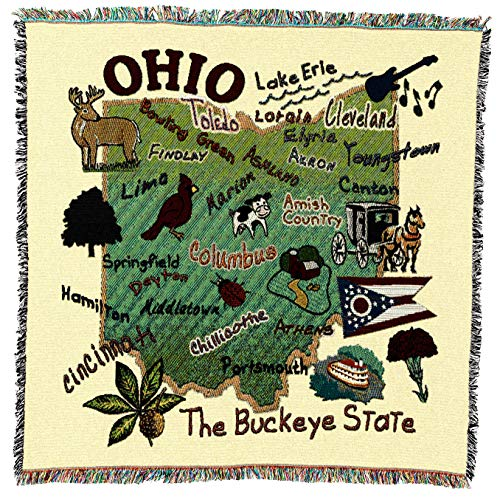 Pure Country Weavers | State of Ohio Woven Throw Blanket Cotton USA 54x54