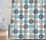 beige and blue shower curtain - Sunlit Abstract Tree Rings Woody Artistic Fabric Shower Curtain. Nature Pale Blue Teal Beige Light Brown