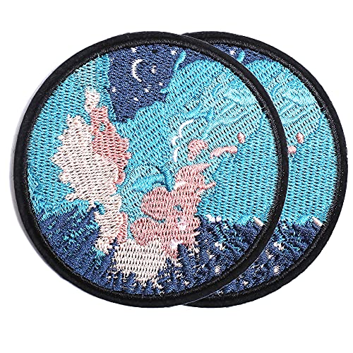 Harsgs The Starry Sky Patch Embroidered Applique Badge Iron on /Sew on Patches Emblem Patch DIY Accessories, Perfect for Clothes, Dress, Hat, Jeans, Pack of 2