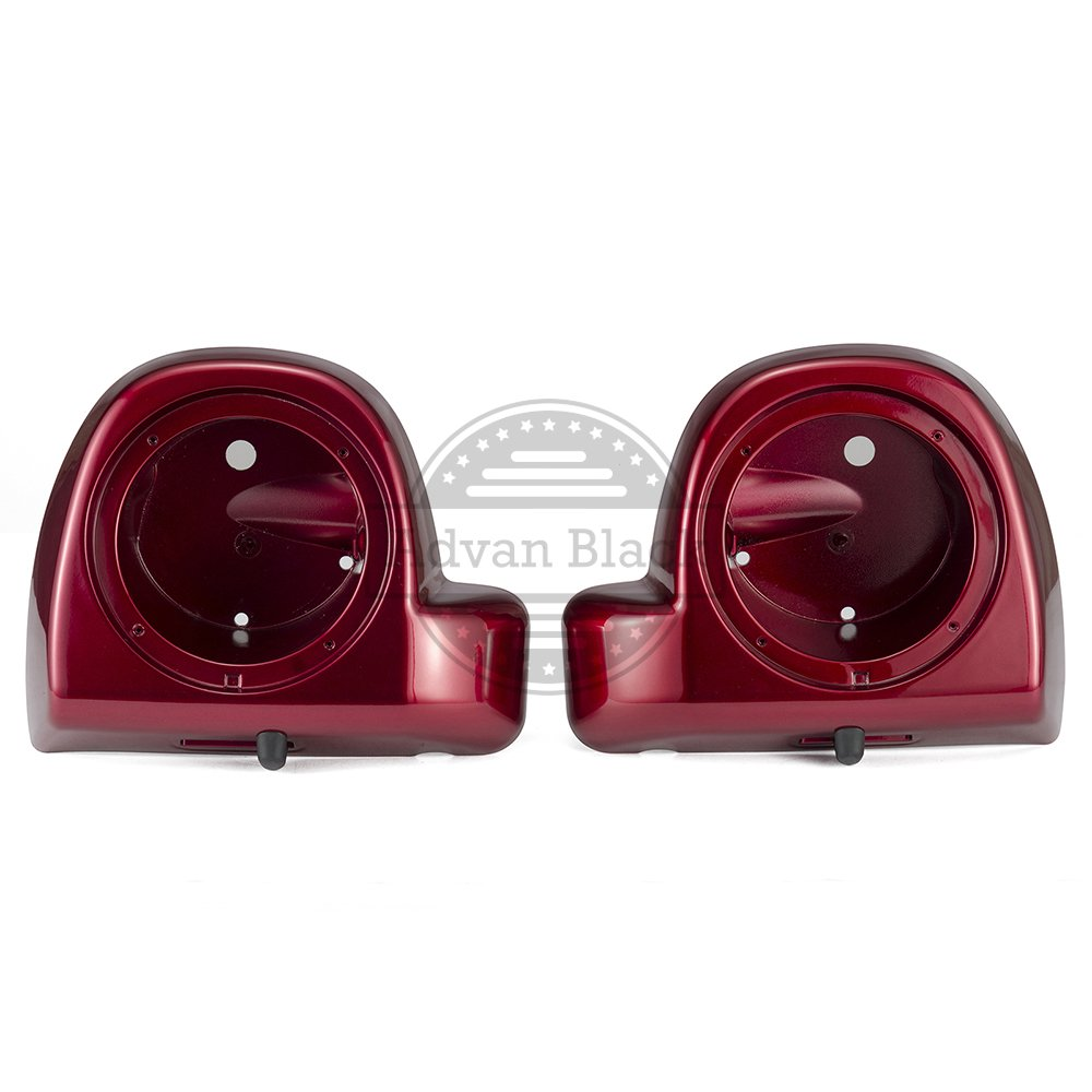 Velocity Red Sunglo 6.5 inch Lower Vented Leg Fairings Speaker Box Pods Fit for Harley Touring Road Glide Road King Street Glide 2014 2015 2016 2017 2018 2019