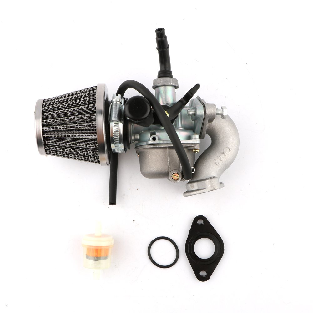 Pasen Povor PZ19 Hand Choke Carburetor + Air Filter Fuel Filter + Manifold Rebuild Kit for Honda XR/CRF 50cc 70cc 90cc 110cc 125cc Moped ATV Taotao Sunl Roketa Baja 110cc ATV Go Kart Dirt Pit Bike