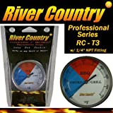 """3"""" River Country (RC-T3) Easy Mount Adjustable BBQ, Grill, Smoker Thermometer (100 to 550 F)"""
