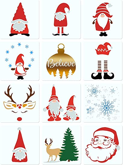 Amazon Com Parbee 12pcs Gnome Stencils Christmas Painting Templates For Diy Xmas Crafts Scrapbooking Card Making 5 Inch