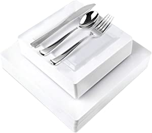 125 Piece Plastic Dinner Set - White Square Plastic Dinner Plates, Salad Plates, and Cutlery - Serve 25 Guest For Parties, Holidays, Catering And More