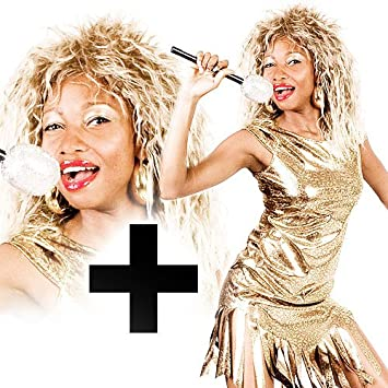 80s Tina Turner Wig Ladies Fancy Dress 1980s Celebrity Popstar