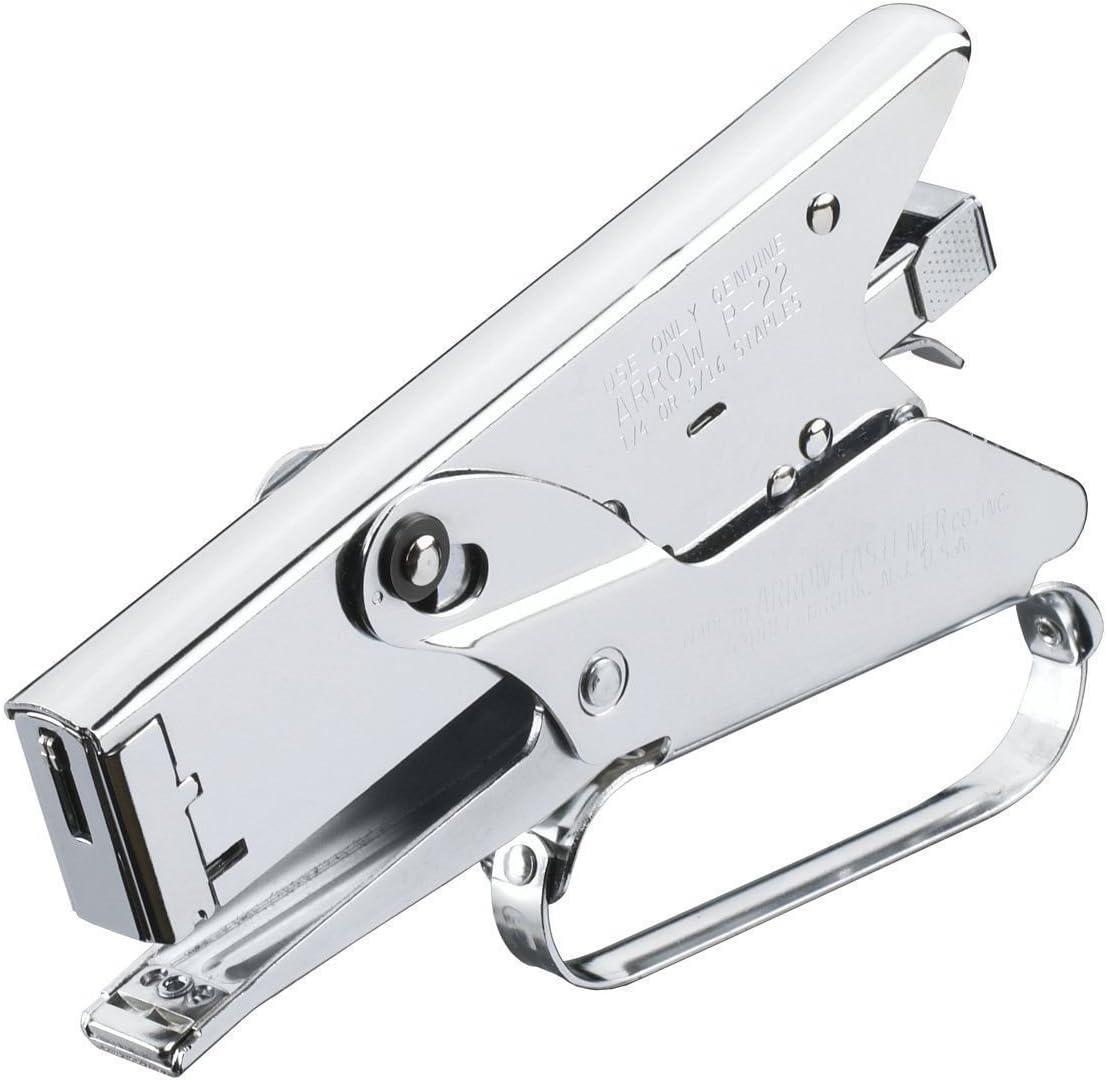 Plier Type Stapler Chrome Finish 2.5 in Throat Heavy Duty Metal Hand Tool New