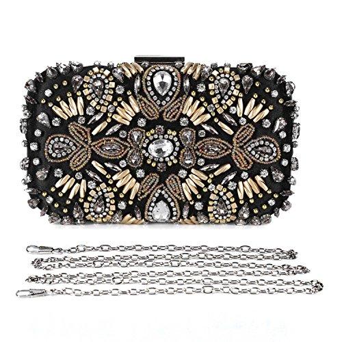 l Flower Beaded Rhinestone Evening Clutch Wedding Party Handbag Bridal Purse ()