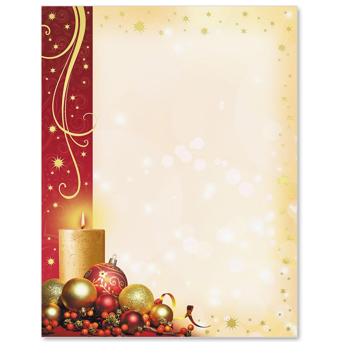 Gold Foil Enchanted Christmas Specialty Border Papers, 28 lb, 8.5 inches x 11 inches, 50 Count PaperDirect