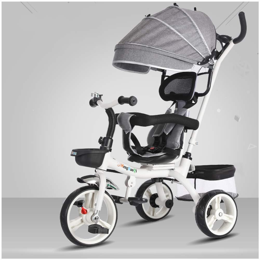 garantizado gris YINGH - 4 en en en 1 Kids Triciclo Steer Cochecito de bicicleta de juguete con dosel, Asiento de seguridad, Canasta de almacenamiento, Pedales para niños de 10 a 6 años de edad  comprar barato