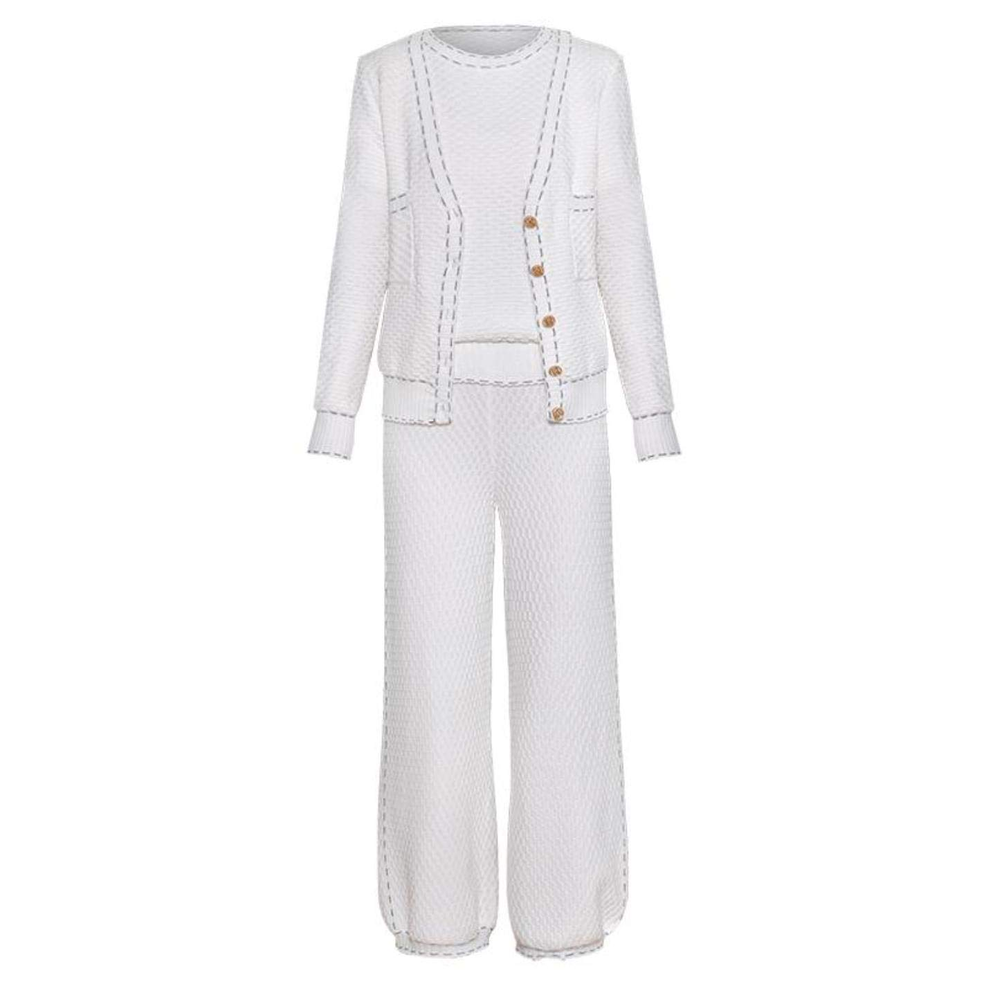 Women T-Shirt + Cardigan + Wide Leg Pants Knitted Three Pieces Sets