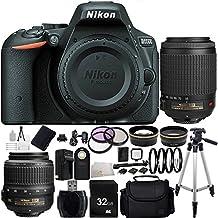 Nikon D5500 DX-format Digital SLR (Black) w/ Nikon AF-S DX NIKKOR 18-55mm f/3.5-5.6G VR Lens - International Version (No Warranty) + Nikon AF-S DX VR Zoom-NIKKOR 55-200mm f/4-5.6G IF-ED Lens + 32GB Bundle 33PC Accessory Kit.