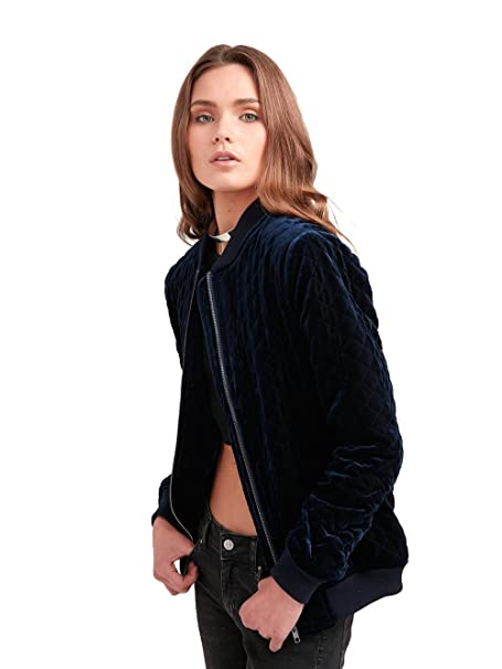 Amazon.com  Young and Reckless - Come Thru Quilted Bomber Jacket - Navy - -  Womens - Outerwear - Bombers Varsity -  Clothing 3ca6f943c