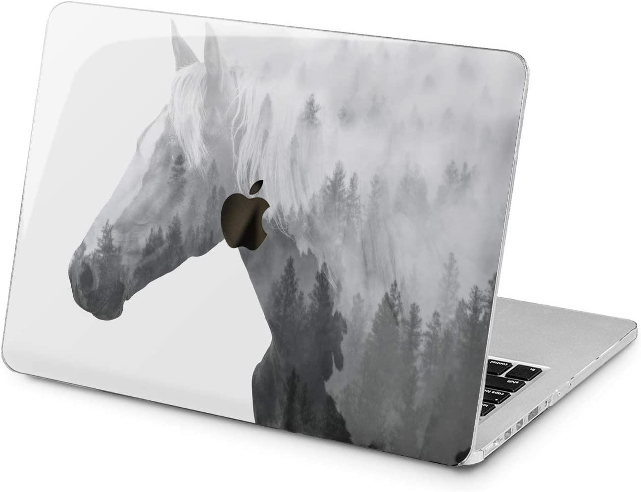 Lex Altern Hard Case for Apple MacBook Pro 15 Air 13 inch Mac Retina 12 11 2020 2019 2018 2017 2016 Forest Protective Animal Foggy Trees Women Print Plastic Girl Nature Horse Laptop Touch Bar Gray