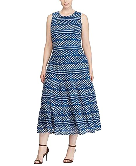 c73e5171baa Amazon.com  Lauren Ralph Lauren Plus Size Fit   Flare Maxi Dress ...