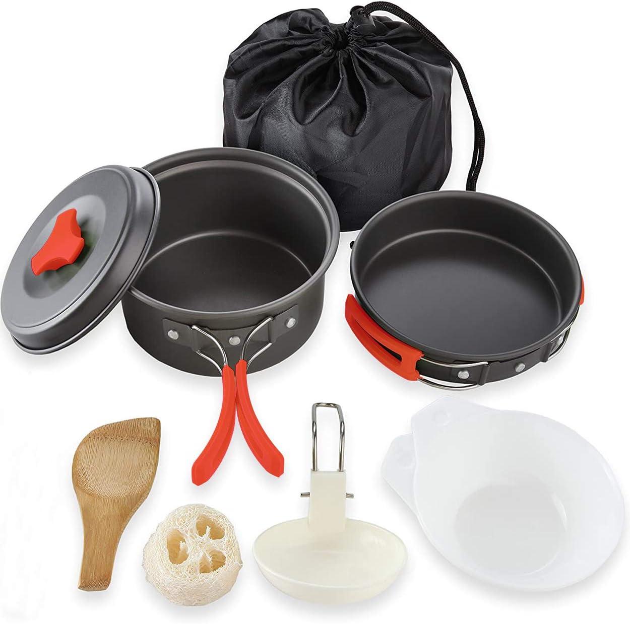 Ahsado Utensilios Cocina Camping Kit con Estufa Trekking, Ollas Camping y Sartén, Cubiertos Plegable - Cacerolas de Acampada de Camping y Viaje