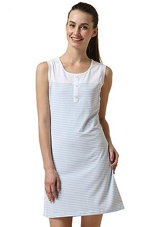 4567e5b47c QIANXIU Summer Sleeveless 100% Cotton Nightgowns for Women Soft Comfy Blue Sleepwear  Nightdress Nightwear at Amazon Women s Clothing store