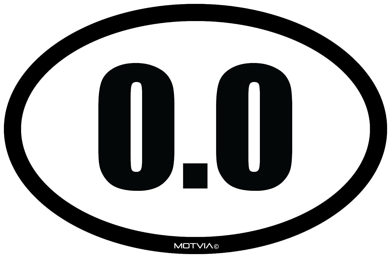 Motvia 0.0 Oval Vinyl Decal// Bumper Sticker 6.5x 4.25