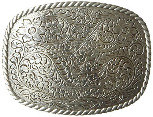 Nocona Men's Silver Rounded Square Buckle, One ()