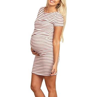 Cinnamou Vestidos para mujeres, Vestido mangas Corta del tinica chaleco del O Collar de la maternidad con Raya del embarazo de las mujeres embarazadas, ...