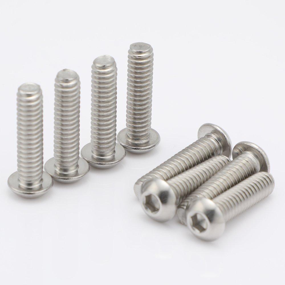 1//4-20 x 5//8 Button Head Socket Cap Bolts Screws 18-8 Stainless Steel Allen Hex Drive 25 Pack