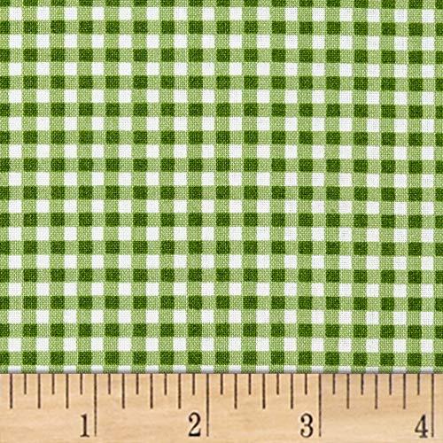 Maywood Studio Beautiful Basics Classic Check Fabric, Green Grass, Fabric By The Yard