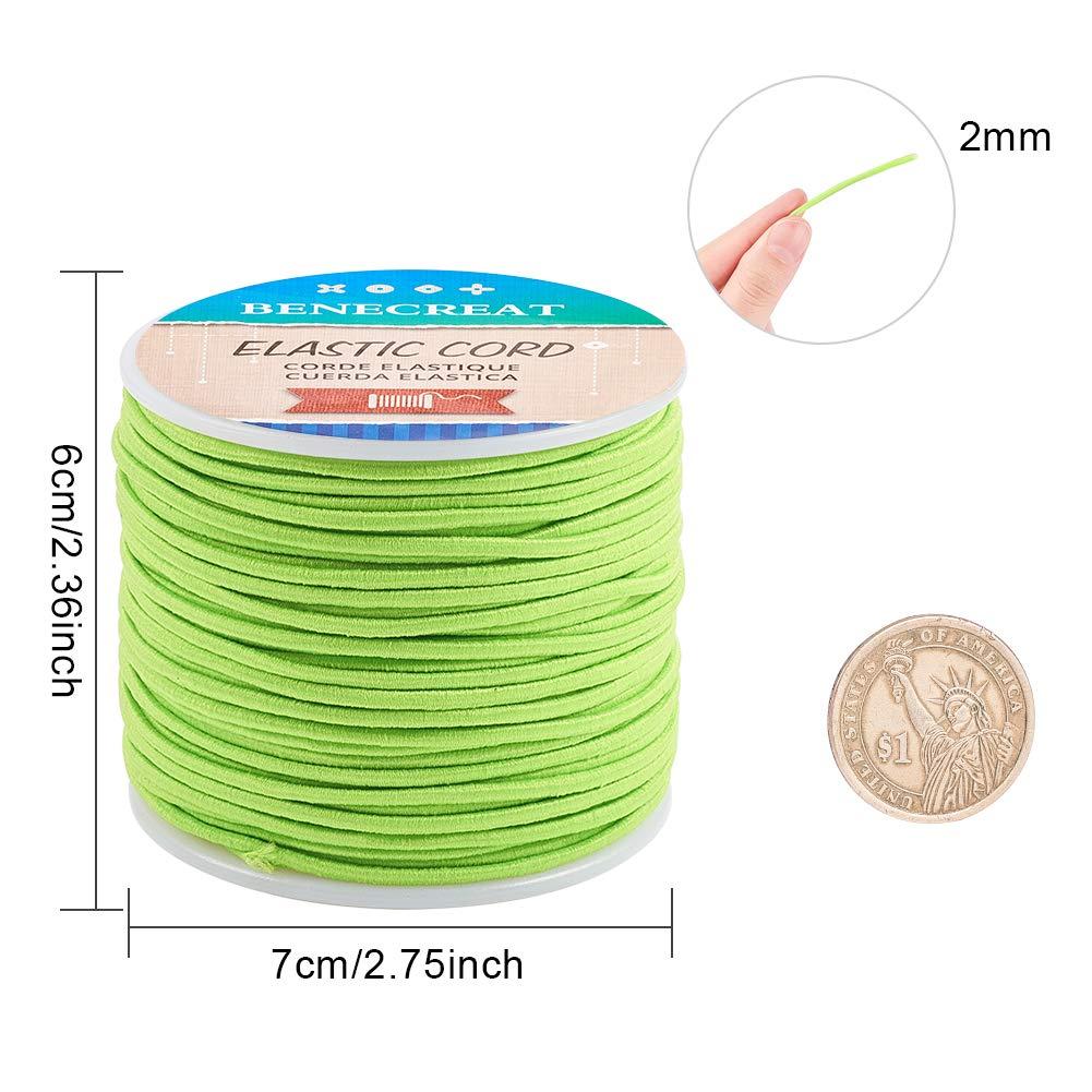 BENECREAT 50m 2mm Cord/ón El/ástico Hilo de Nylon de Rebordear Tela Hilo para Cuentas Pelo y Manualidad Naranja Oscuro