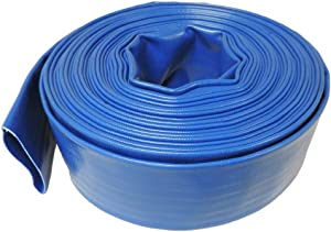 "HydroMaxx 2"" Diameter x 100' Heavy Duty Lay Flat Discharge and Backwash Hose for Water Transfer Applications, 4 Bar Agricultural Grade Construction"